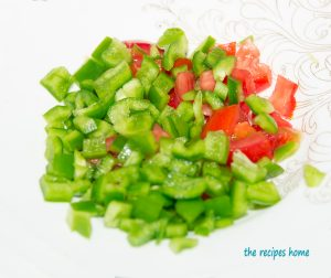 chopped green bell pepper and tomatoes.
