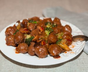 teriyaki beef meatballs and broccoli
