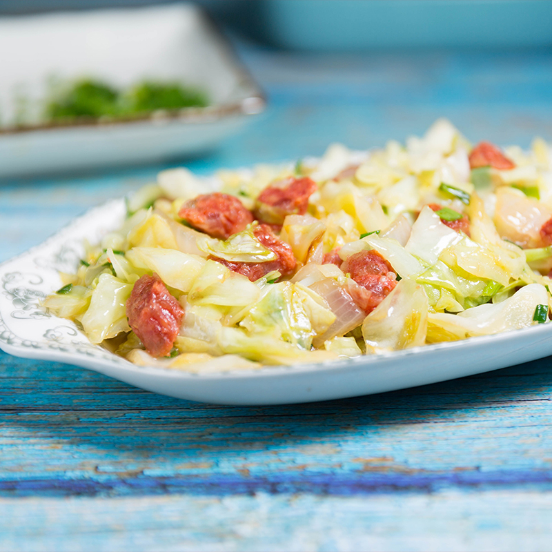 fried cabbage and sausage