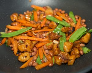 chicken stir fry carrots roasted peanuts