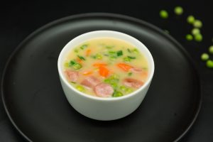 Peas Soup with Sausage and carrots