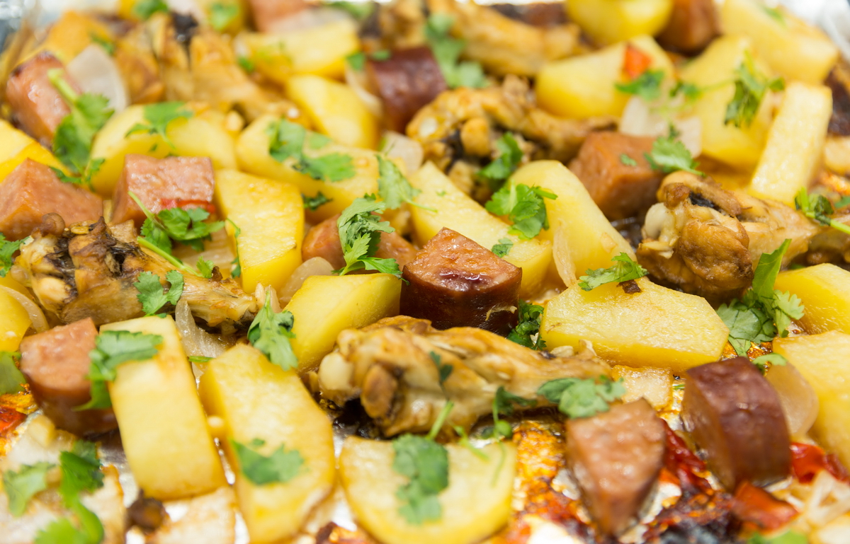 roasted chicken with sausage and potatoes