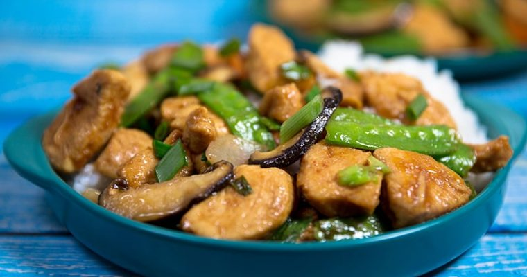 Chicken snow peas and Mushroom Stir Fry