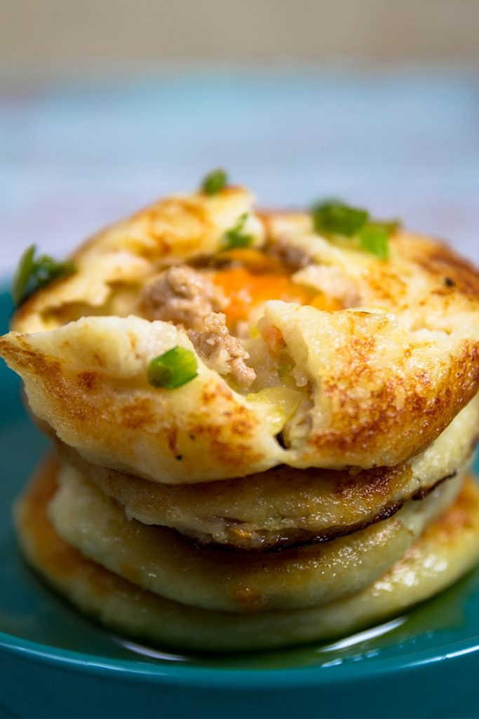 Mashed Potato Pancakes with Meat Filling