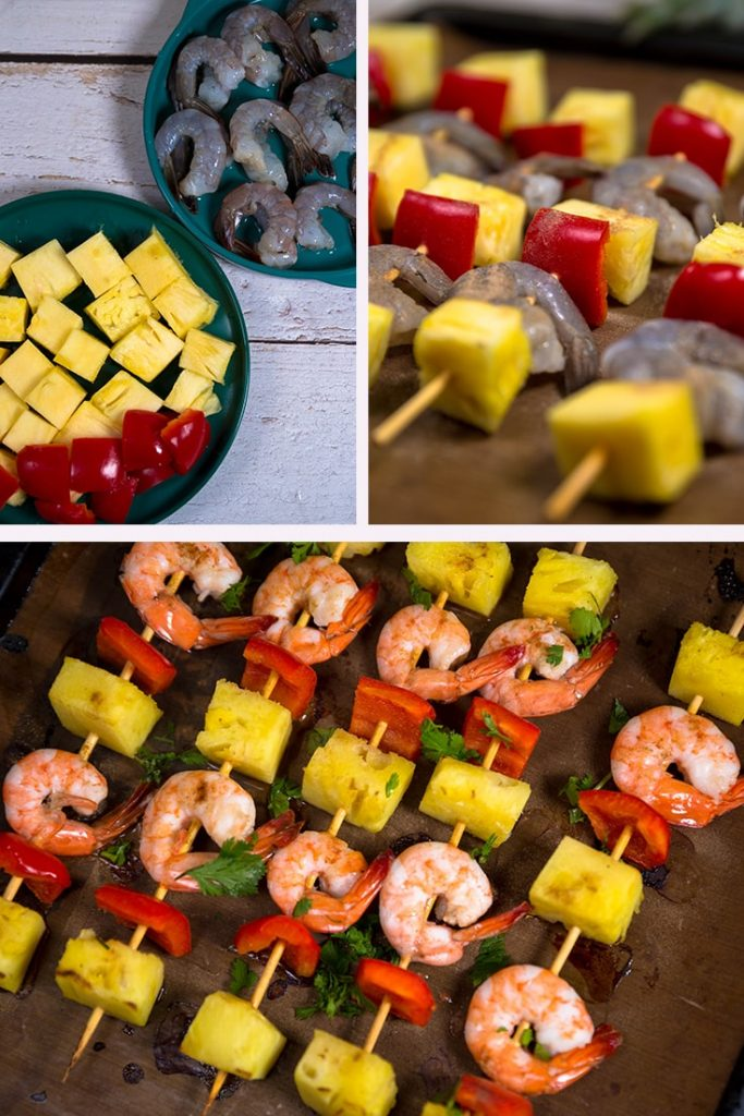 These shrimp kabobs are skewers of shrimp, pineapple, and peppers, grilled to perfection.
