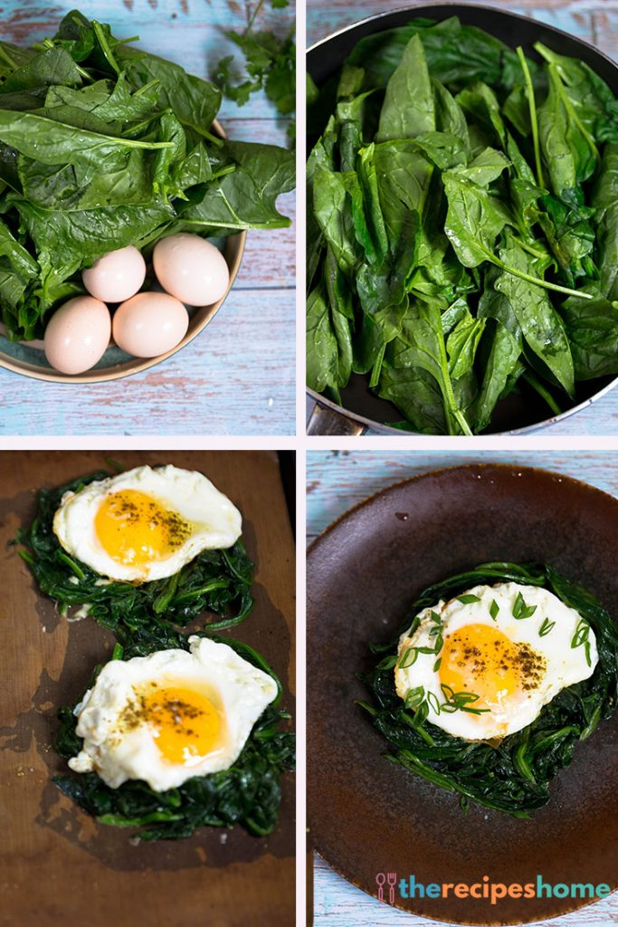 How to make baked eggs with wilted baby spinach recipes!