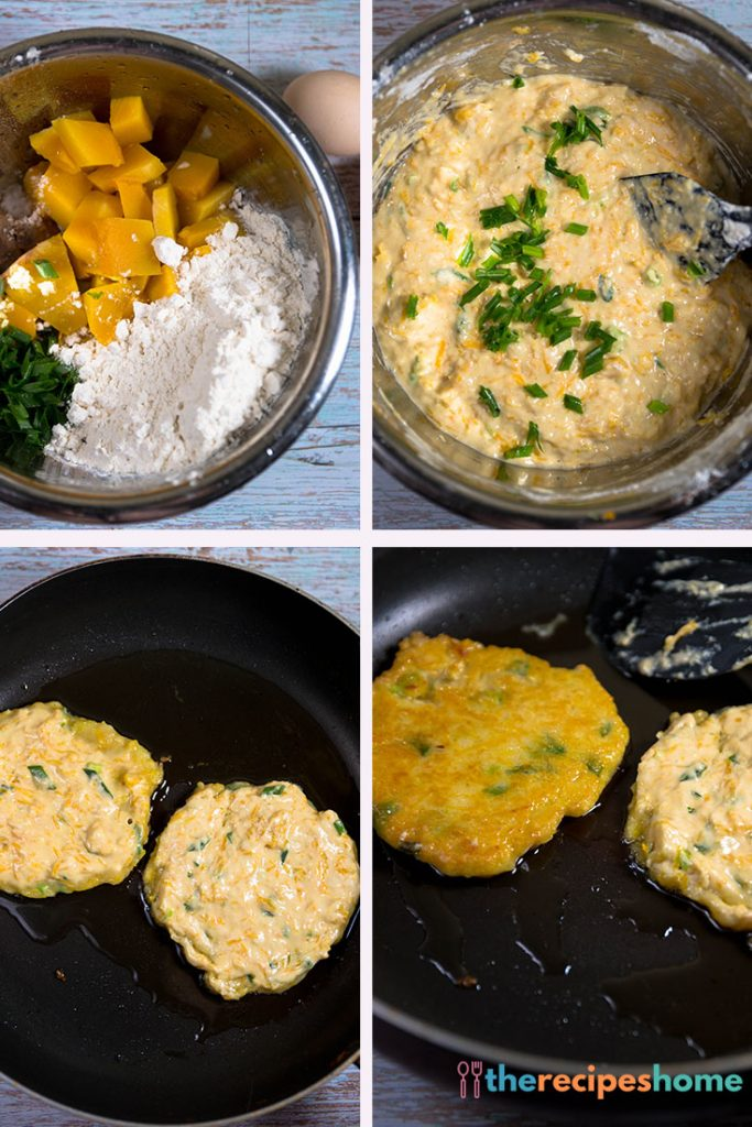 squash and chive pancakes