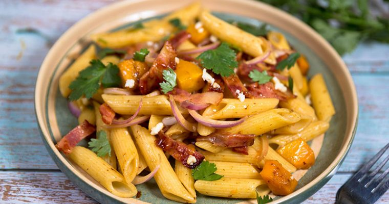 Penne with pumpkin, Bacon